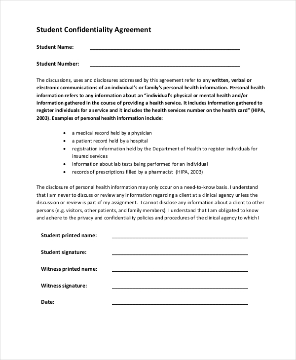 Sample Confidentiality Agreement Form 9 Free Documents in Doc PDF – Medical Confidentiality Agreement