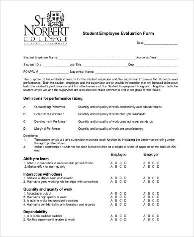 Employee Evaluation Form Samples - 9+ Free Documents In Word, Pdf
