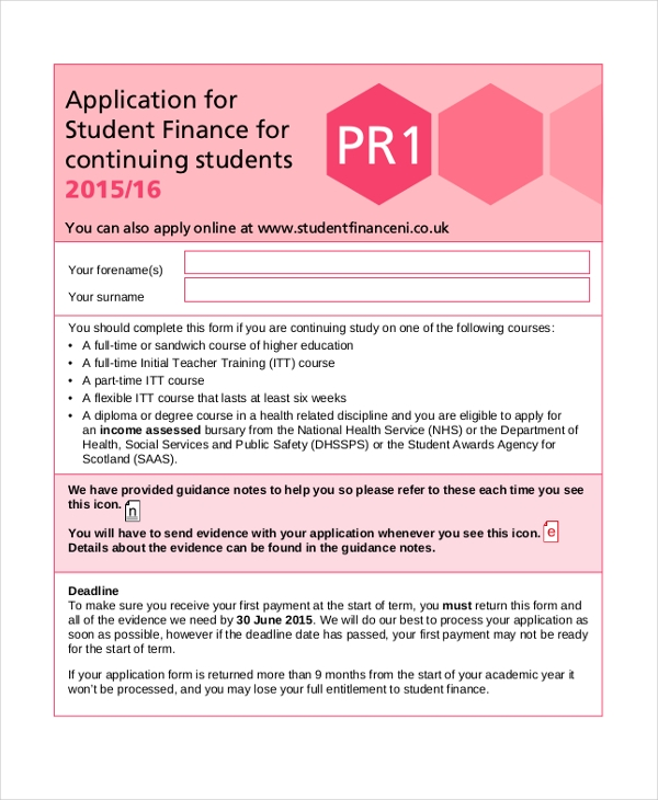 student finance maintenance grant application form