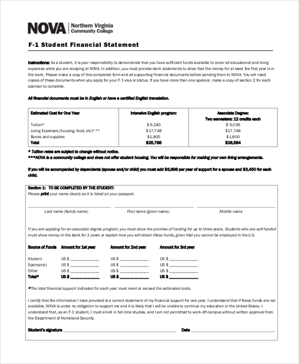 Sample Financial Statement Form - 10+ Free Documents in PDF