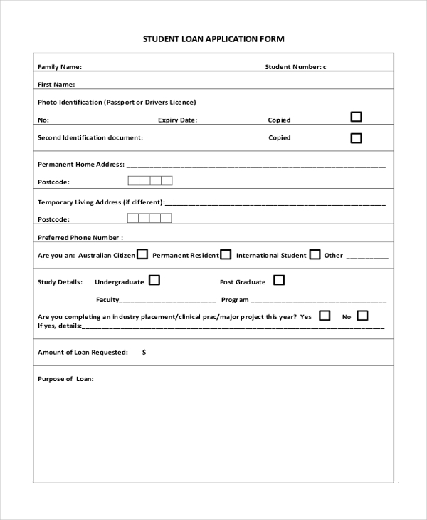 8 sample housing application forms sample example format student loan application form1 altavistaventures Images