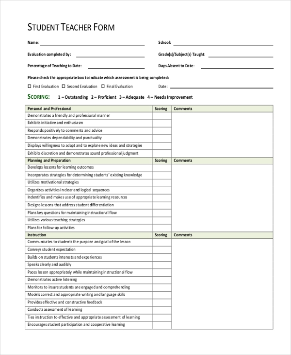 student teacher appraisal form1