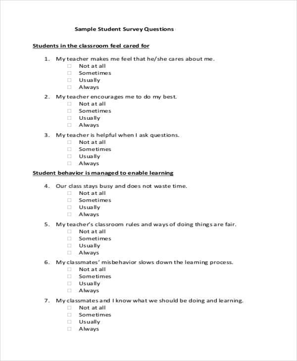 Sample Survey Form Example 9 Free Documents in Doc PDF – Sample Student Survey