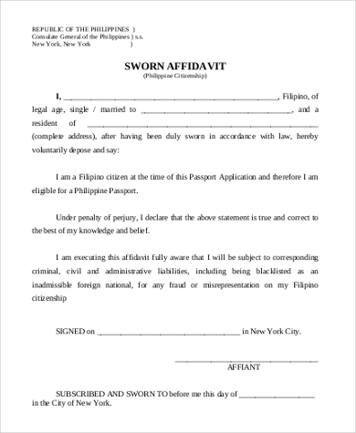 Sample Sworn Affidavit Form   Free Documents In Doc Pdf