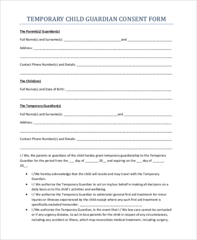 Temporary guardianship form samples 10 free documents for Naming a guardian for your child template