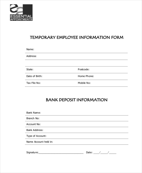 temporary employee information form