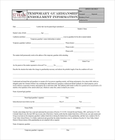 2016 Free Printable Temporary Guardianship Form,Printable