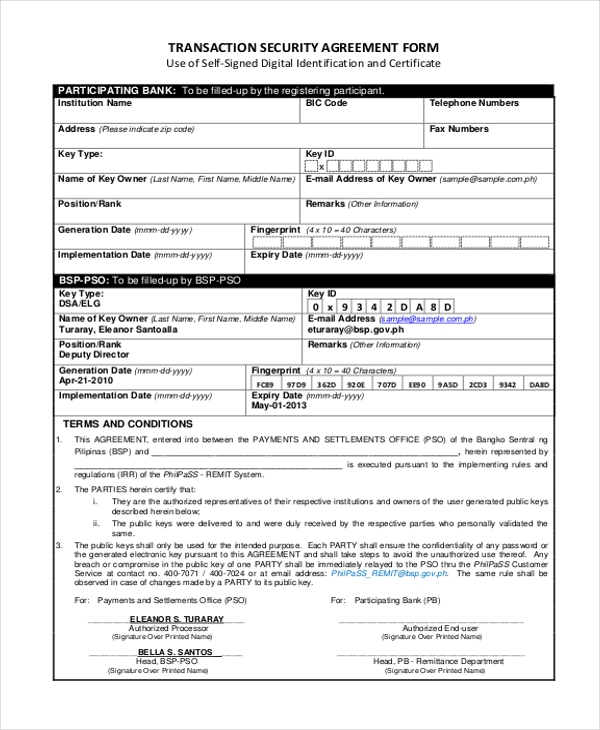 transaction security agreement form