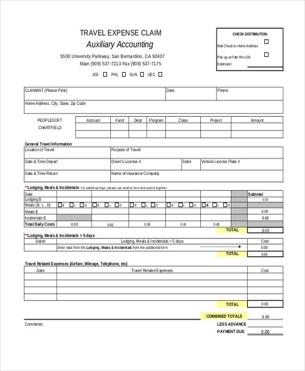 travel expense accounting form