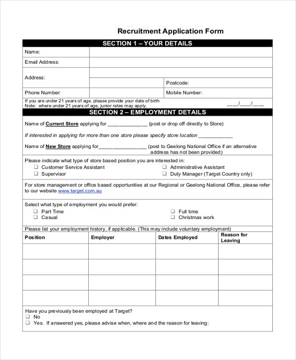 7+ Sample Target Application Forms - Sample, Example, Format