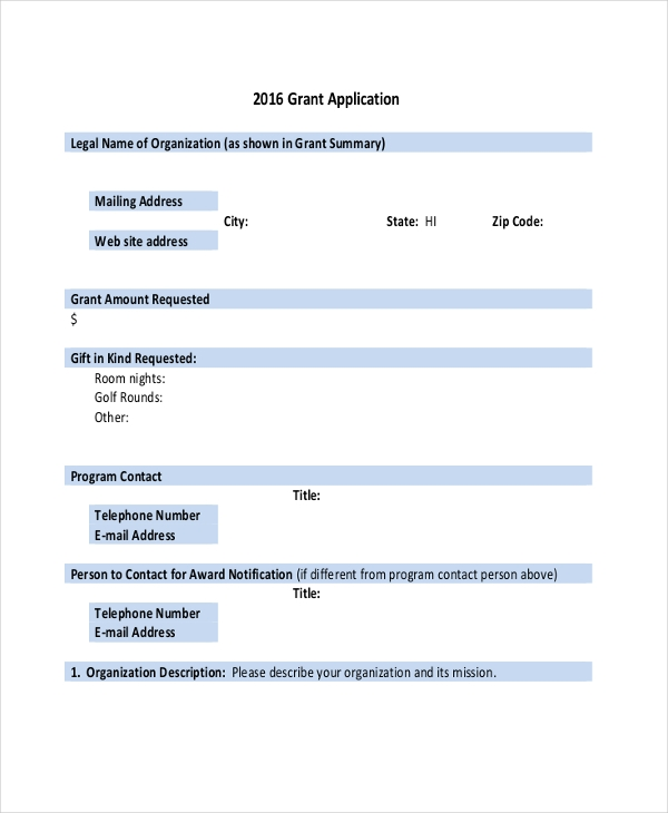 Sample Grant Application Forms  Sample Example Format