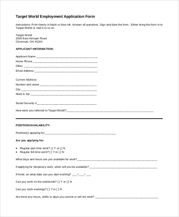 Sample Target Application Forms  Sample Example Format