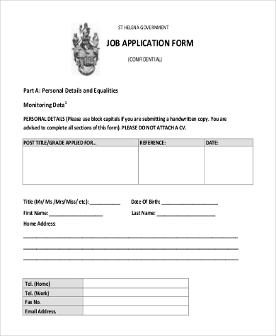 Job Application Form Samples   Free Documents In Word Pdf