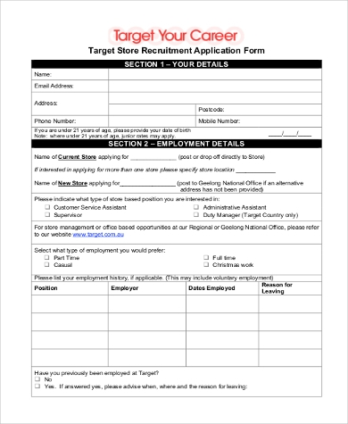 Sample Target Job Application   Free Documents In Word Pdf