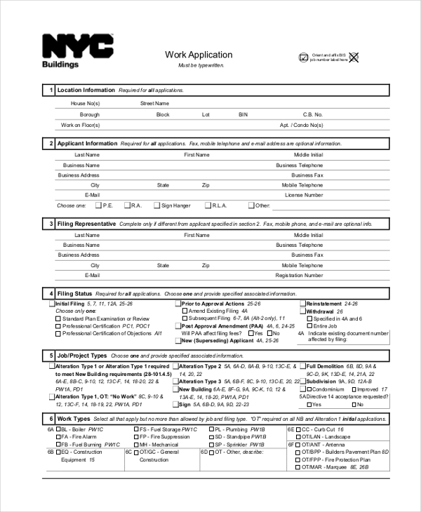 Sample Work Application Forms  Free Sample Example Format