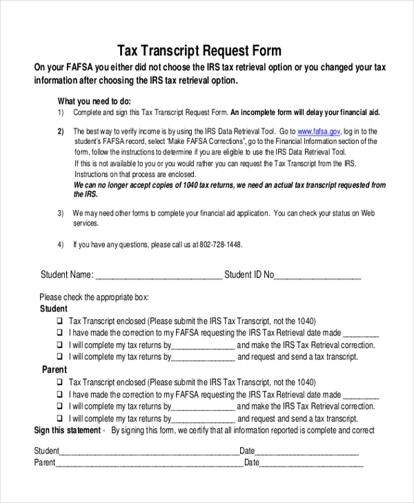 tax transcript request form