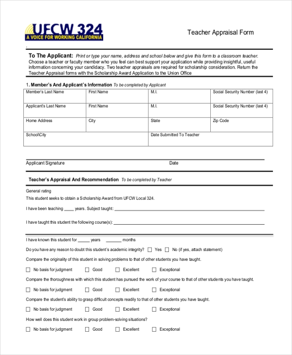 Sample Teacher Appraisal Forms  Free Sample Example Format