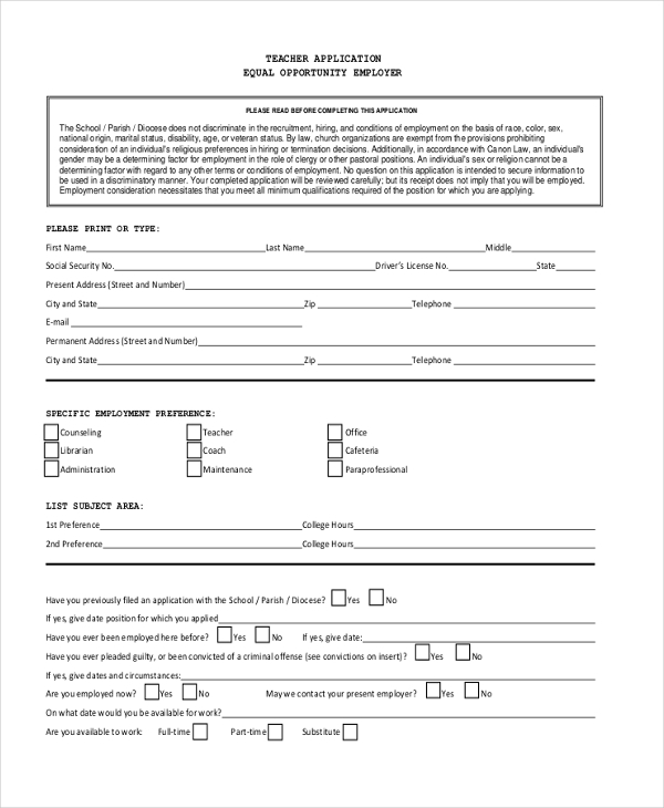 teacher job application form1