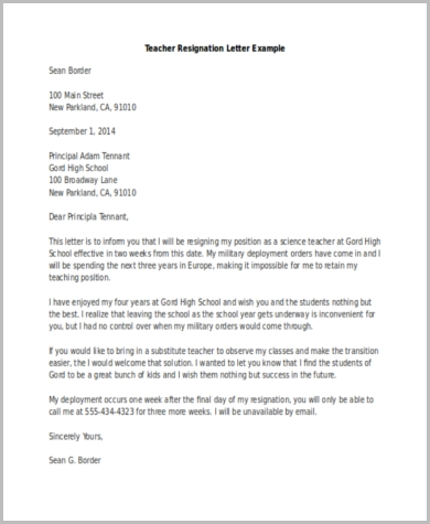 example of resignation letter for teachers resignation letter examples 9 free documents in word pdf 21581 | Teacher Resignation Letter Example