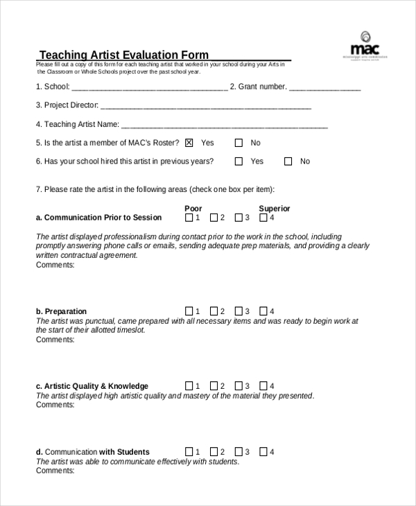 Sample Teacher Evaluation Form   Free Documents In Pdf