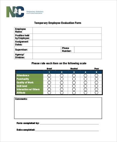 Employee Evaluation Form Samples   Free Documents In Word Pdf