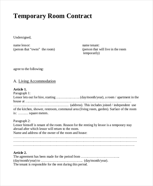 8 Sample Rent Agreement Forms Sample Example Format – Rent a Room Contract