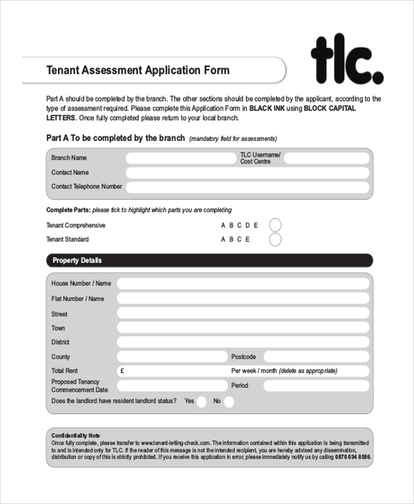tenant assessment application form