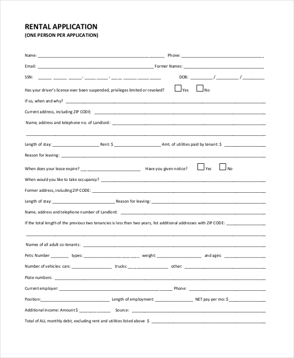 Sample Tenant Application Forms  Sample Example Format