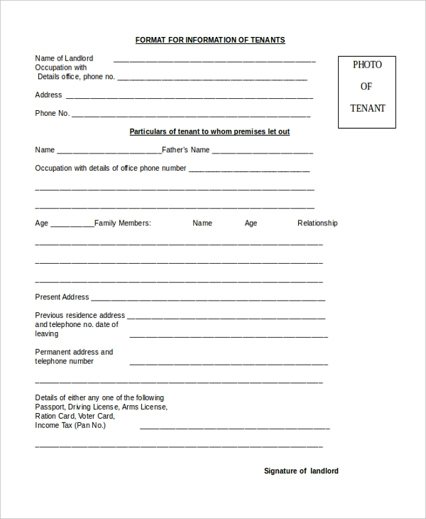 8+ Sample Tenant Application Forms - Sample, Example, Format