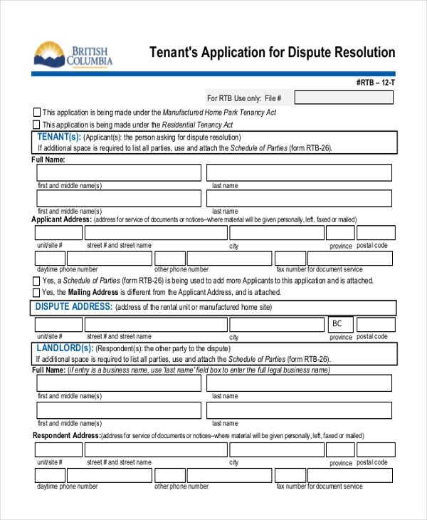 Tenants Application For Dispute Resolution Form PDF