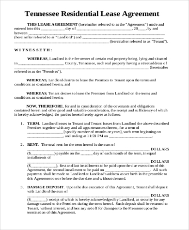 tennessee residential lease agreement