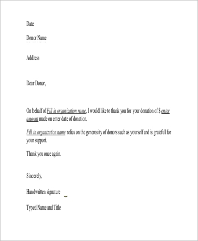 Sample Thank You Letter For Donation   Free Documents In Word Pdf