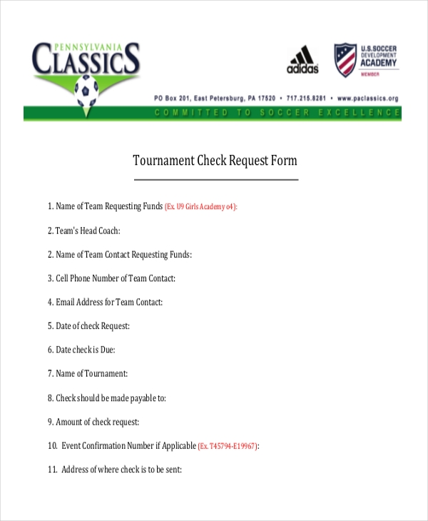 tournament check request form