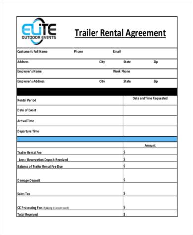 Captivating Trailer Rental Agreement