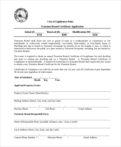 transient rental certificate application