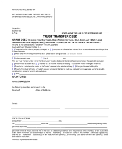 trust transfer deed form