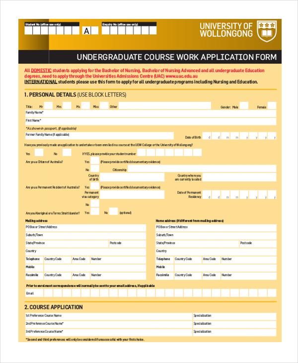 undergraduate course work application form