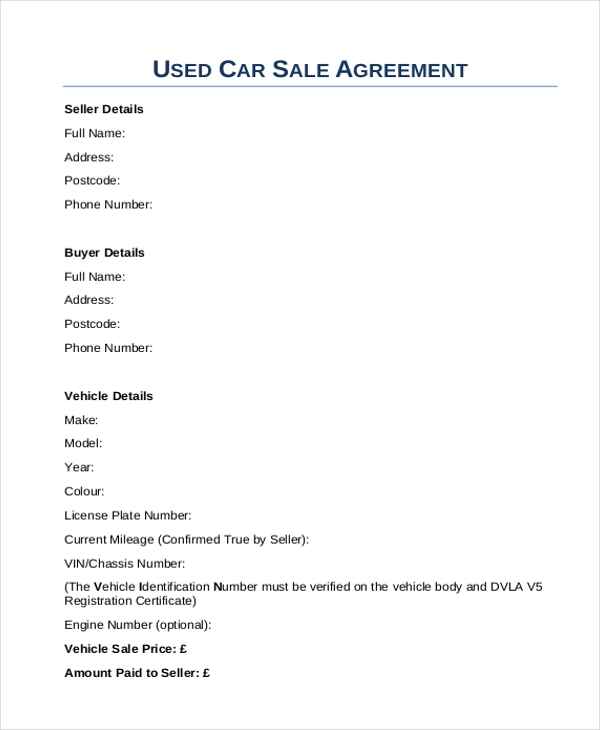 Used Car Sales Agreement Form In PDF  Car Sale Agreement Sample