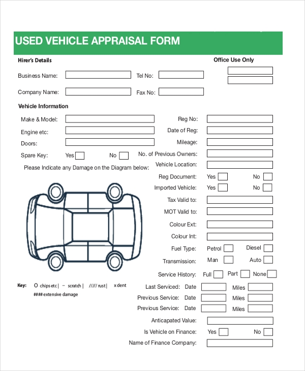 Used Car Appraisal Form Free  Free Appraisal Forms