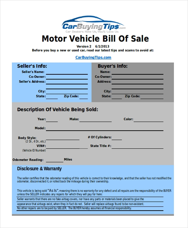 Used Car Bill Of Sale Form Pdf