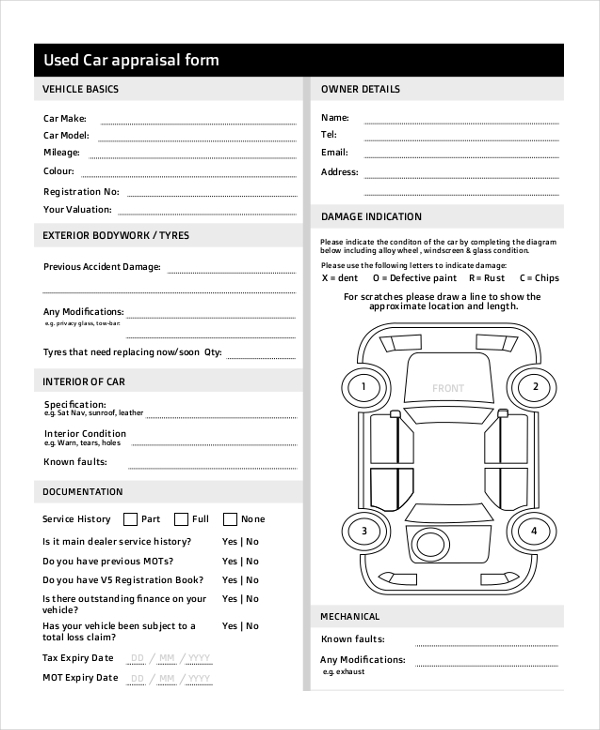 used car sale appraisal form
