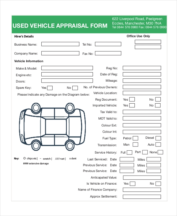 7 Sample Vehicle Appraisal Forms Sample Example Format