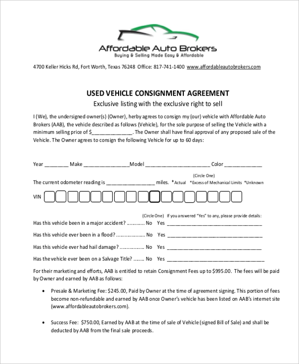 Sample consignment agreement form 8 free documents in pdf used vehicle consignment agreement form format pronofoot35fo Image collections
