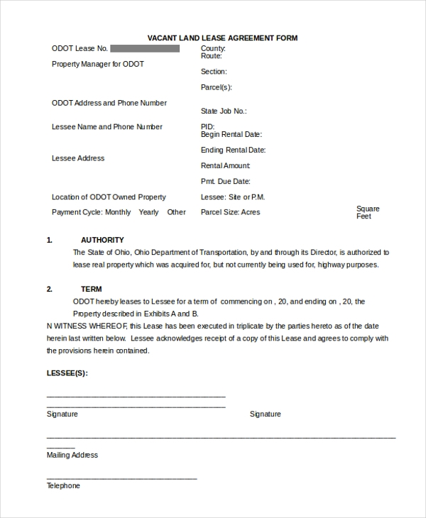 Sample Land Agreement Forms  Free Sample Example Format