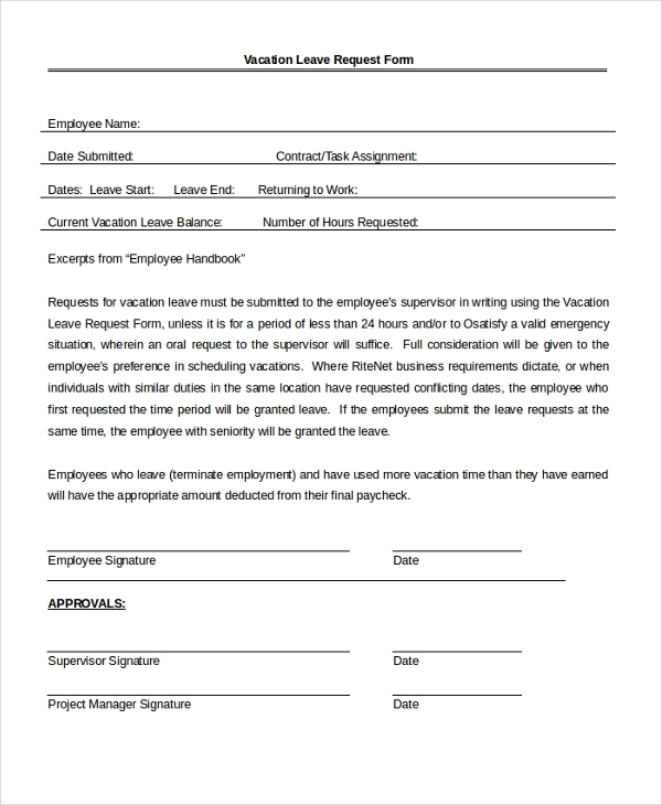 Sample Leave Application Form 10 Free Documents in PDF Doc – Leave Application Form for Employee