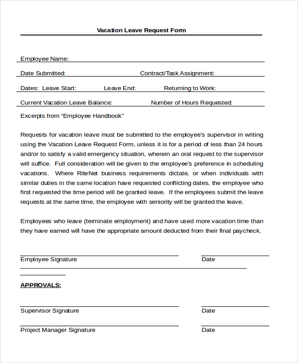 7 Sample Leave Application Forms Sample Example Format – Leave Application Format for Employee