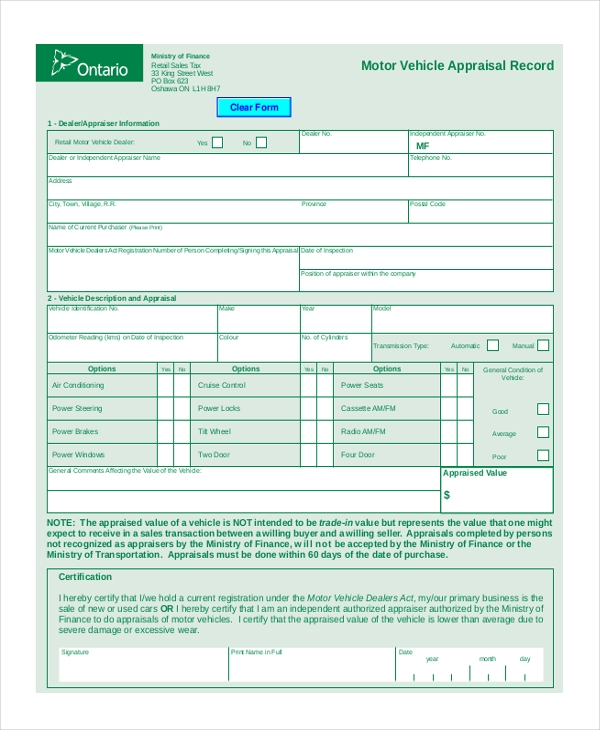 Sample Vehicle Appraisal Form - 8+ Free Documents In Pdf, Doc