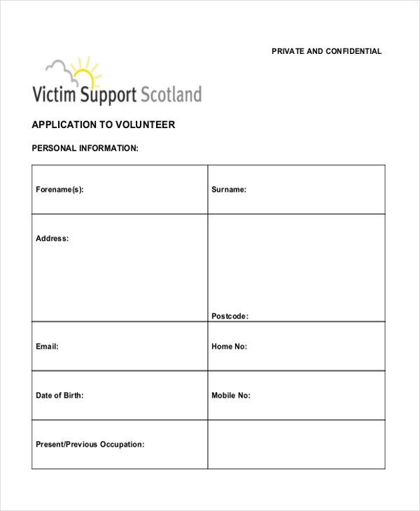 volunteer application form template free pike productoseb co