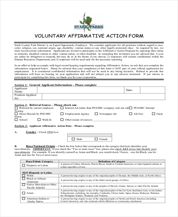 voluntary affirmative action form
