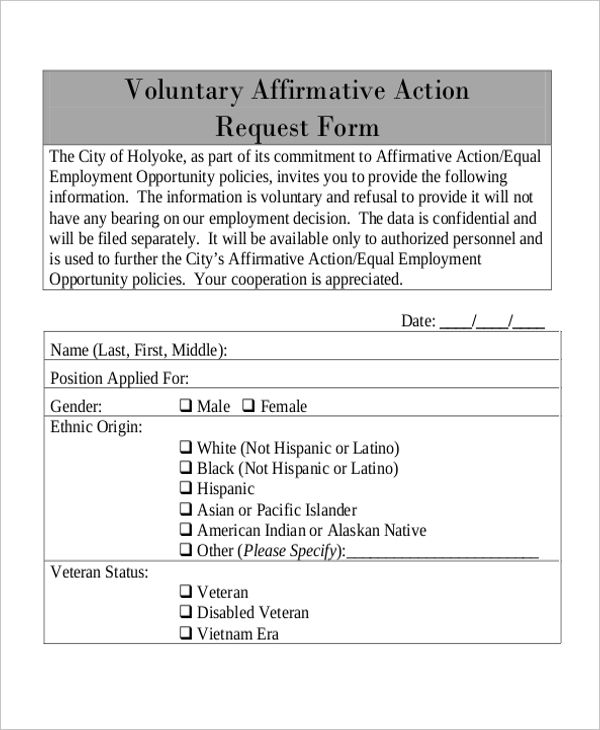 voluntary affirmative action request form